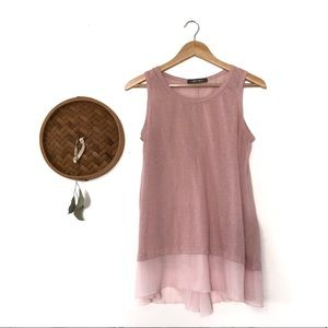 COIN 1804 blush linen tank top with button back